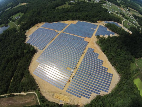 This 5-megawatt solar farm, shown in September 2015, was developed on 32 acres in Burlington, N.C., by Cypress Creek Renewables. It is representative of facilities Cypress hopes to developed in Montana.