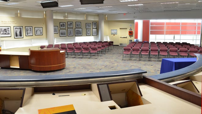 The former City Council chambers are located in what is now called the Copper Room. The renovations will include removing the old dais, significantly expanding the room's useable space.