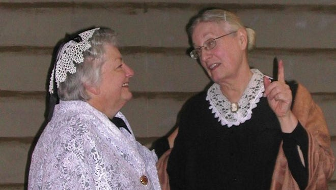 "Susan Kohout, left, portrays Elizabeth Cady Stanton and Chris Milton portrays Susan B. Anthony in their play, ""Susan & Elizabeth: A Friendship of Consequences"""