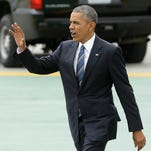 President Obama arrives at San Francisco International Airport Friday.