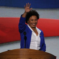 California Rep. Barbara Lee waves as she takes the podium at the Democratic National Convention in 2012.