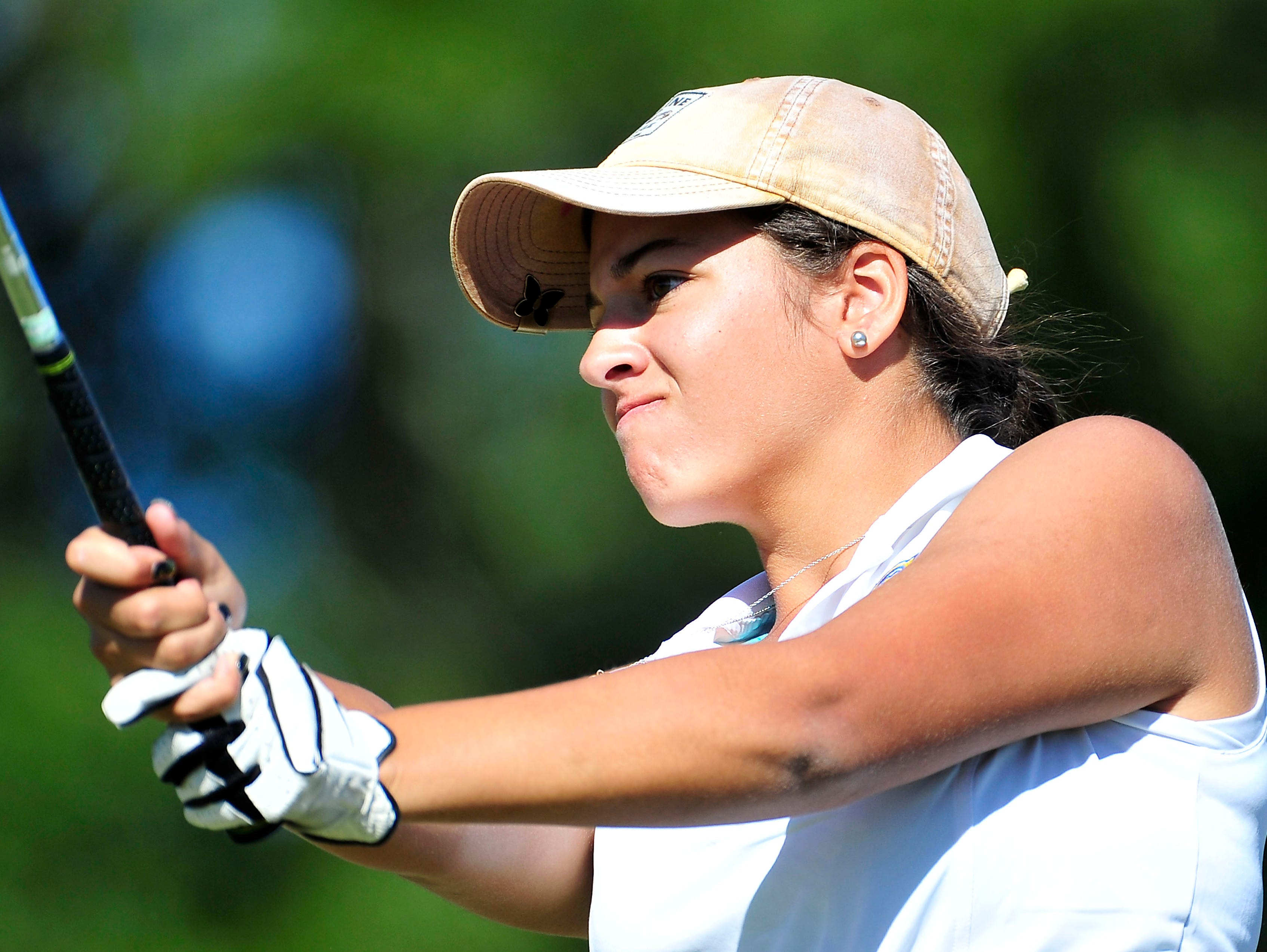 Clarksville Academy's Mallory Saleh watches her tee shot on the 11th hole box during the Class A/AA State Golf Tournament at WillowBrook Golf Club in Manchester, Tenn., Wednesday, Oct. 14, 2015.