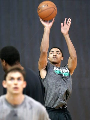 Gary Harris, former HSE star and future NBA lottery pick, worked out with other players at the Monon Center in Carmel on Thursday, June 19, 2014.