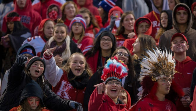 Keyport fans celebrate as their team scores a first half field goal in the Central Group I final.