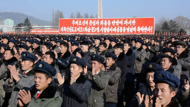 This picture taken on Dec. 3, 2017 and released from North Korea's official Korean Central News Agency on Dec. 4 shows a rally by army-civilian to celebrate the successful ICBM test-fire in South Hamgyong, North Korea.