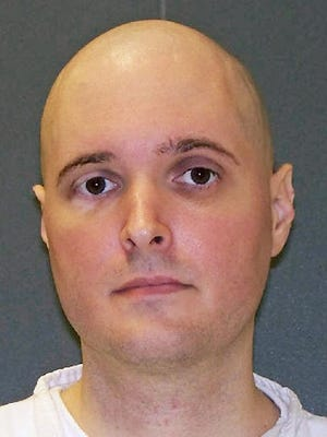 This undated file photo provided by the Texas Department of Criminal Justice shows death row inmate Thomas Whitaker. The Texas Board of Pardons and Paroles on Tuesday, Feb. 20, 2018, unanimously recommended the death sentence of Whitaker be commuted to life. Whitaker is set for lethal injection Thursday, Feb. 22, for masterminding the fatal shootings of his mother and brother at their suburban Houston home in 2003.