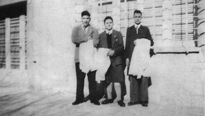 Future pope Jorge Mario Bergoglio, right, with classmates at a preparatory school in Buenos Aires, Argentina in the 1950s.