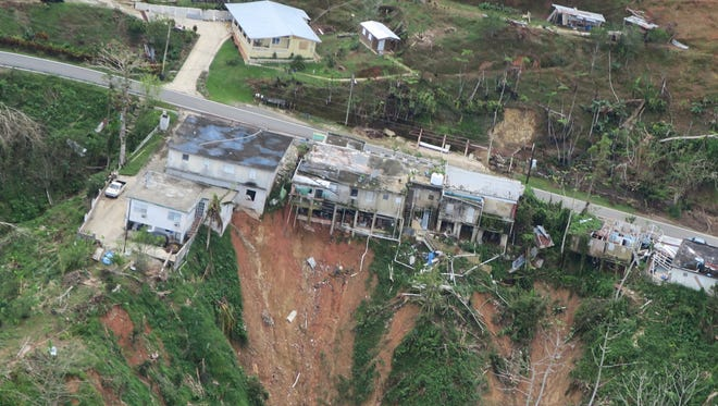 An aerial view shows damages caused by hurricane Maria in Jayuya, Puerto Rico, on Oct. 11, 2017. The Jayuya population, in the heart of the island, is an example of the municipalities of the interior of the island that are struggling to return to normal after the devastation of Hurricane Maria.