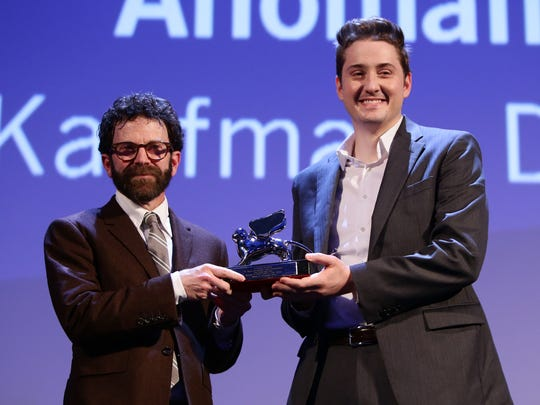 """Directors Charlie Kaufman and Duke Johnson won the Grand Jury Prize for their movie '""""Anomalisa'"""" at the closing ceremony during the 72nd Venice Film Festival on Sept. 12, 2015, in Venice, Italy."""