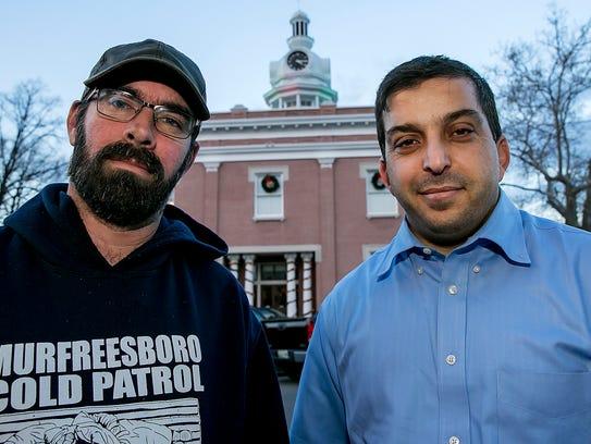 Jason Bennett, left, with the Murfreesboro Cold Patrol,