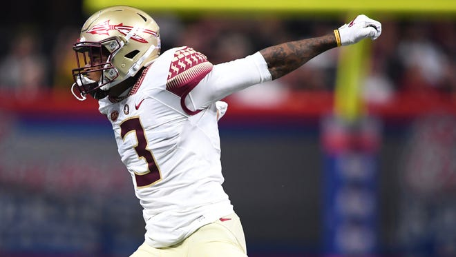 James (3) played linebacker, nickelback and safety in Florida State's 24-7 loss to Alabama.