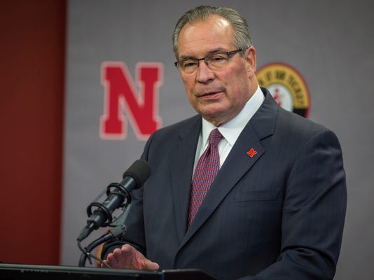 FILE - In this Nov. 25, 2017, file photo, Nebraska athletic director Bill Moos speaking during a news conference in Lincoln, Neb. Nebraska men's basketball coach Tim Miles will be back for a seventh season at Nebraska and talks about a contract extension will begin after the NCAA Final Four, Moos said Tuesday, March 27, 2018. (AP Photo/John Peterson, File)