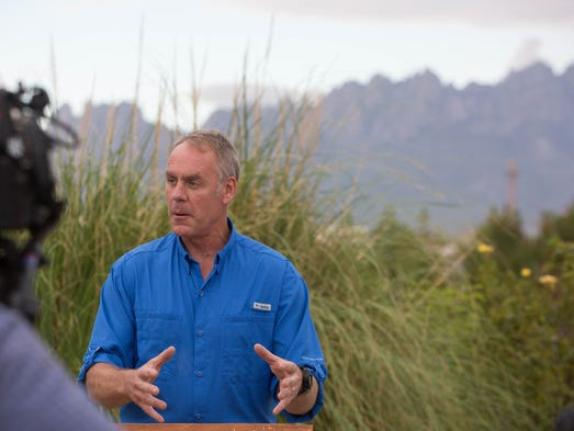 Ryan Zinke, the U.S. secretary of the interior, gives