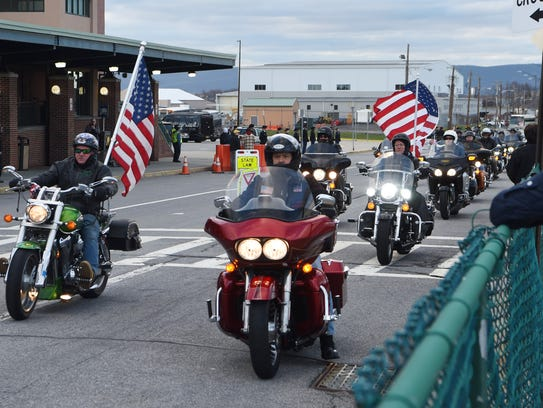 The motorcade accompanying the veterans  for the Hudson