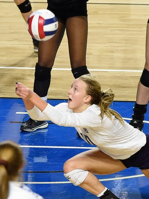 Hardin Valley's Alexandria Kirby (10) makes a save as Brentwood plays Hardin Valley at MTSU's Murphy Center during the TSSAA volleyball state tournament.