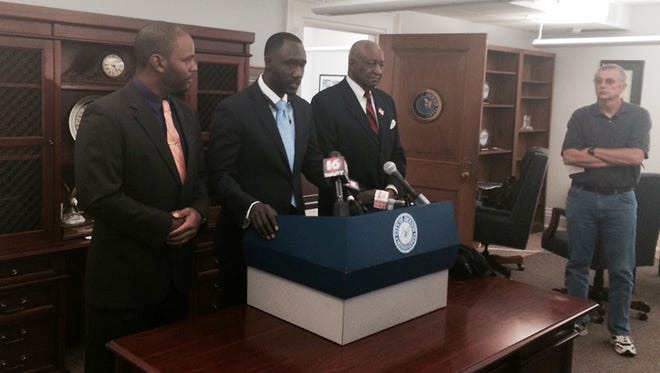 From left: Ward 4 Councilman De'Keither Stamps, Jackson Mayor Tony Yarber and Ward 5 Councilman Charles Tillman.