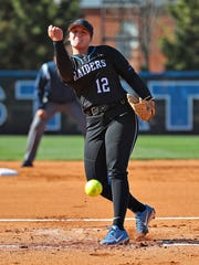 MTSU pitcher Gretchen Greer fires a pitch in a game