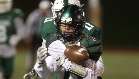 Yorktown's Brandon Meyreles hauls in a reception during