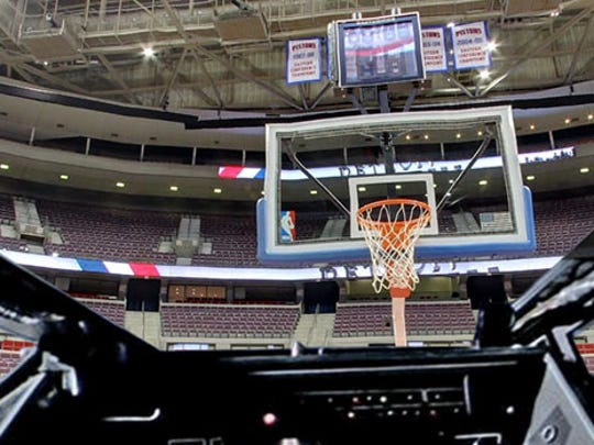 The Palace of Auburn Hills, seen through the X-Wing.