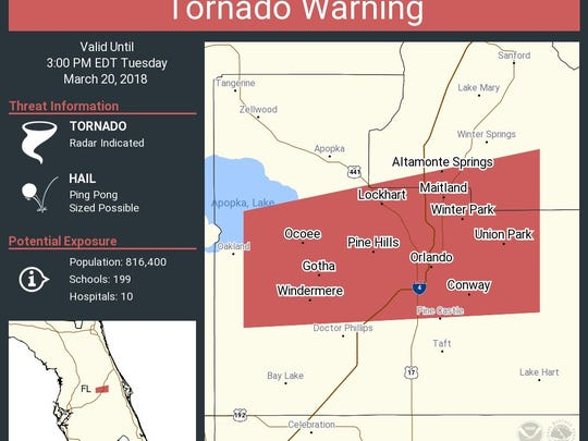 Tornado warning issued for Central Florida locations