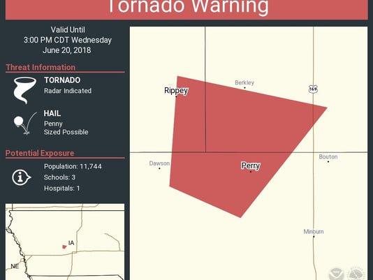 Tornado warning issued near Perry