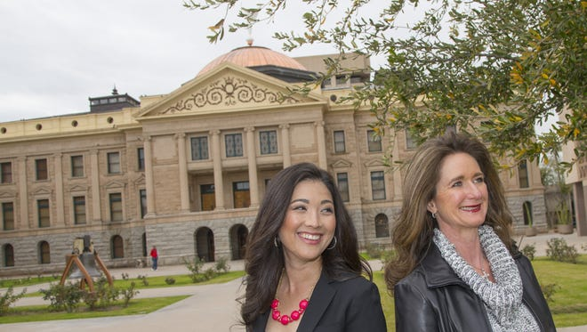 Julie Read (left) and Ann O'Brien, self-described soccer moms, have taken to lobbying at the Arizona Capitol for community causes.
