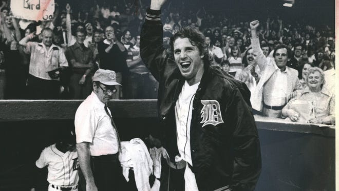 Mark Fidrych takes off his hat to acknowledge the fans' cheers after this 11-2 victory on Aug. 12, 1980. That's Jim Leyland on the right with his hand in the air, then a 35-year-old manager in Evansville, Ind.