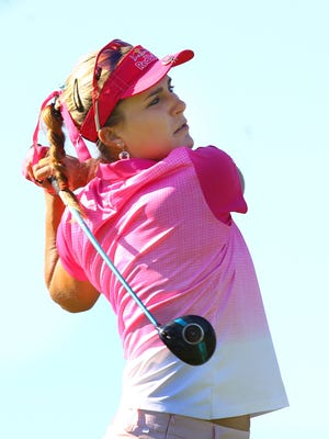 Lexi Thompson tees off on the 12th tee during the 3rd round of the ANA Inspiration tournament held Mission Hills Country Club in Rancho Mirage on April 2, 2016.