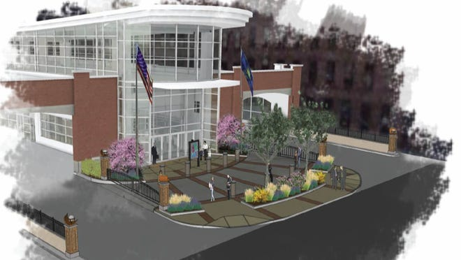 An artist's rendering of the new downtown transit center.