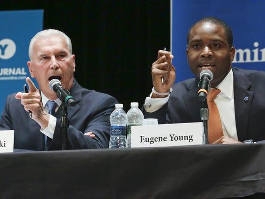 Wilmington mayoral candidates Mike Purzycki (left)