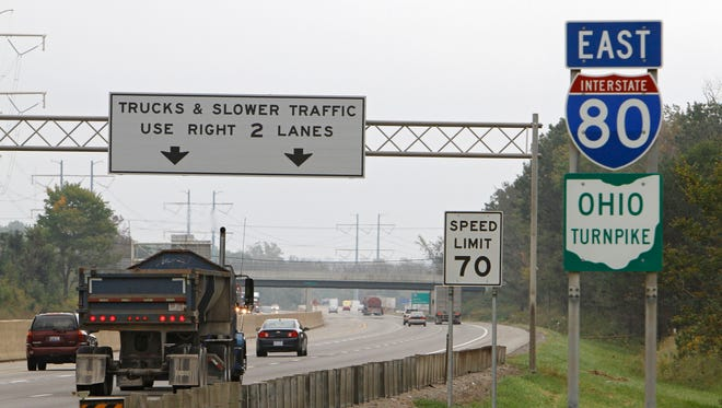 In this 2011 photo, vehicles drive along the Ohio Turnpike in Strongsville.