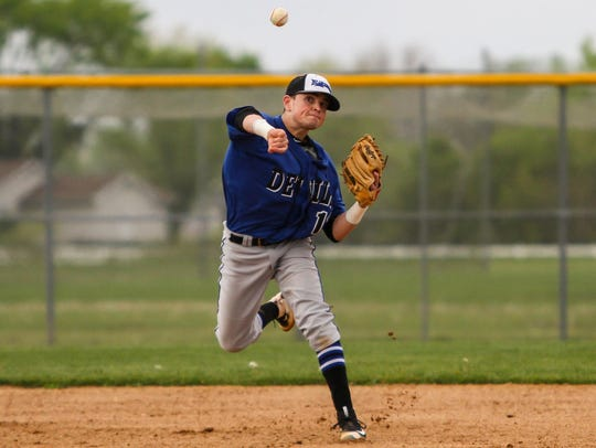 Hammonton shortstop Brandon Gazzara throws to first