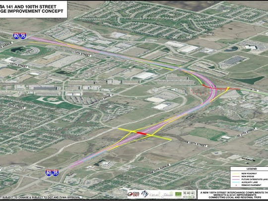 A conceptual drawing shows the changes to Interstate 35/80 in Urbandale, including a full diamond interchange at 100th Street, a half diamond interchange at Meredith Drive and a flyover ramp for Iowa Highway 141.