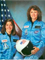 Christa McAuliffe, right, and Barbara Morgan, Teacher in Space primary and backup crewmembers for Shuttle Mission STS-51L. McAuliffe's mission ended in failure when the Challenger orbiter exploded 73 seconds after launch on Jan. 28, 1986.