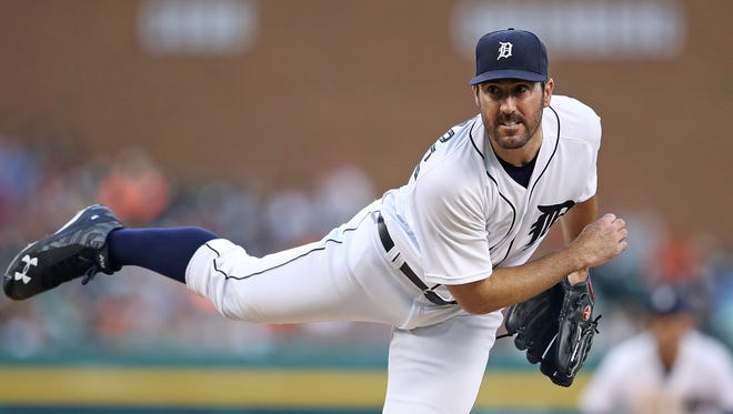 Justin Verlander of the Detroit Tigers pitches during the fifth inning of the game against the Kansas City Royals on July 15, 2016 at Comerica Park in Detroit, Michigan.