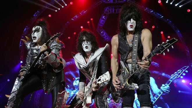 Gene Simmons, Tommy Thayer and Paul Stanley of Kiss perform during their opening show for the Australian leg of their 40th anniversary world tour Oct. 3 in Perth, Australia.