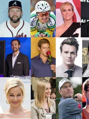 Top row, from left: Bruce Sutter, Floyd Landis, Kristen Wiig, Taylor Kinney. Second row, from left: Brad Rutter, Andy Baldwin, Jonathan Groff, Johnny Weir Bottom row, from left: Jennifer Gareis, Beth Behrs, Jim Furyk, James Wolpert