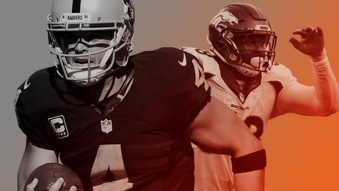 Raiders QB Derek Carr (4) and Broncos OLB Von Miller.