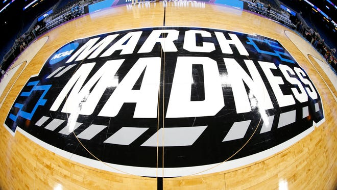 Mar 16, 2017; Orlando, FL, USA; General view of the March Madness logo prior to the game between the Maryland Terrapins and the Xavier Musketeers in the first round of the NCAA Tournament at Amway Center. Mandatory Credit: Kim Klement-USA TODAY Sports