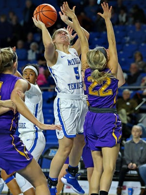 MTSU guard Abbey Sissom goes up for a shot in a game against Lipscomb at Murphy Center on Nov. 19, 2017.