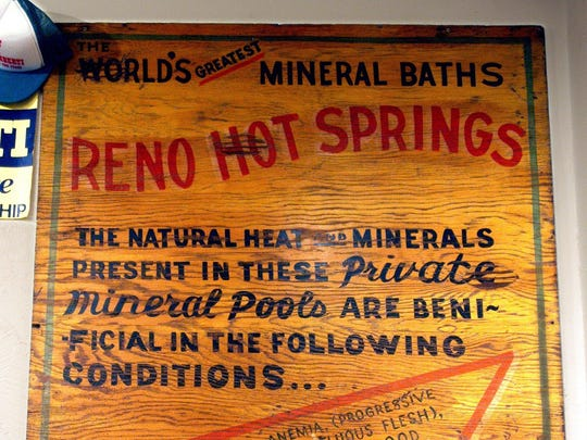 Reno Hot Springs sign at the Sparks Museum.