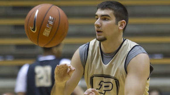 Dakota Mathias and Purdue play the first of their two exhibition games today against California (Pa.).