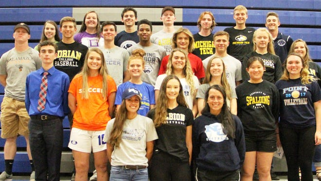 Among those Lakeland athletes committed to play in college include (bottom row, from left): Lauren Castellon, Kate Winter, Chase Schultz; (second row, from left) Karl Stroup, Abbey Woodruff, Brittney Leist, Marissa Sailus, Madison Lyman, Lexi Shoup, Kaitlyn Hawke; (third row, from left) Hunter Roberts, Spencer Schorling, Jack Stibal, Tyler Green, Ricky Rayner, Clay Purvis, Maggie Elliott, Lexi Bordeau; (top row, from left) Madeline Speck, Rianna Koteles, Andrew Hunt, Michael Jacobs, Zach Werth, Luke Moore and Grant Smith. (Not pictured is Ashley Dehetre.)
