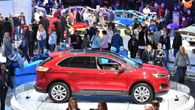 Crowds at the North American International Auto Show at Cobo Center in Detroit  January.