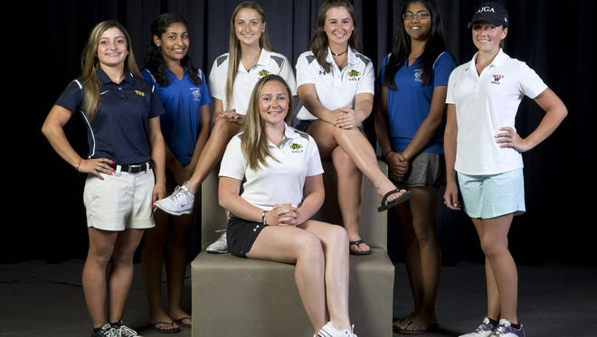The 2016 All-Shore girls golf team. Left to right, Amanda Perez Toms River North, Haley Mander of Holmdel, Arianna Palmeri of RBC, Nicole Totland of RBC, Mehr Sawant of Holmdel, and Micaela Crines of Wall. Sitting in front is Ceilie Reynolds of RBC.