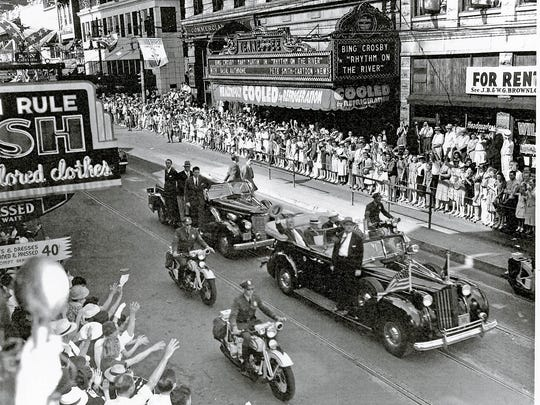 President Franklin D. Roosevelt, Gov. Prentice Cooper and Eleanor  Roosevelt drive down Gay Street en route to the dedication ceremony for the Great Smoky Mountains National Park on Sept. 2, 1940. (Jerry Hodge/Special to the News Sentinel)