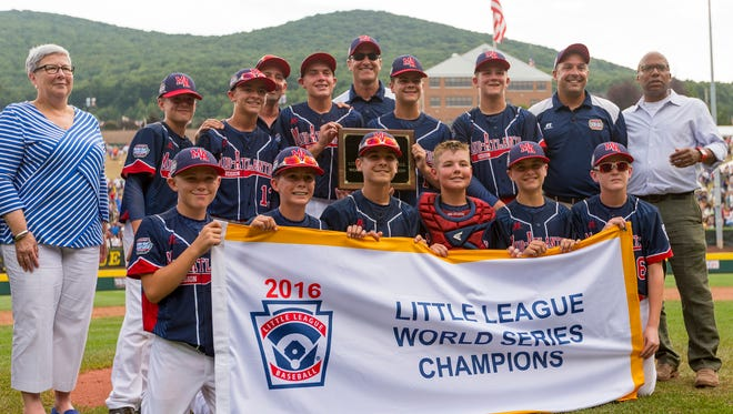 Maine Endwell celebrate their 2-1 win over East Seoul for Little League World Series Championship Sunday in Williamsport.