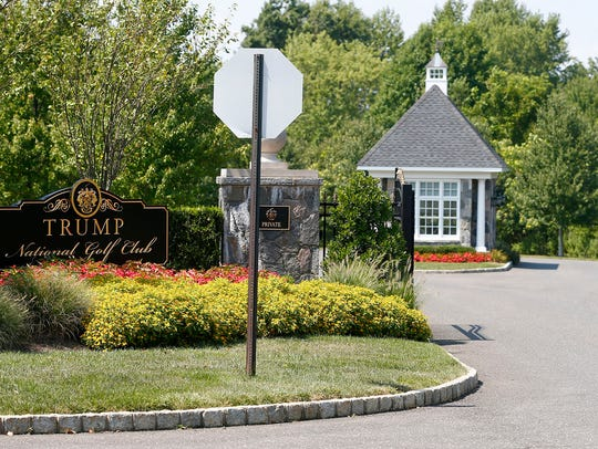 The Trump National Golf Course entrance in Colts Neck