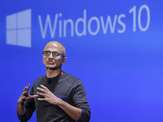 Microsoft CEO Satya Nadella speaks at an event demonstrating
