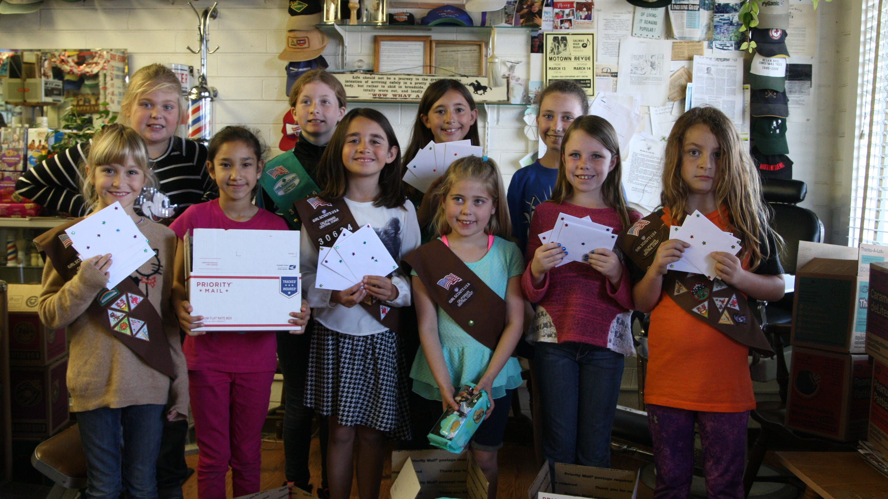 girl scouts sell cookies for troops overseas